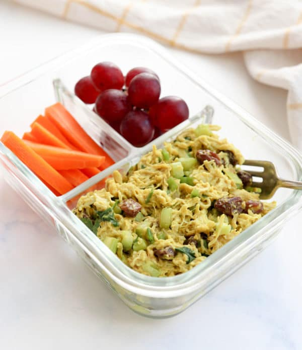 curried chicken salad in lunch box