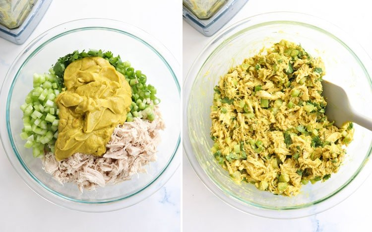 curried chicken salad in mixing bowl
