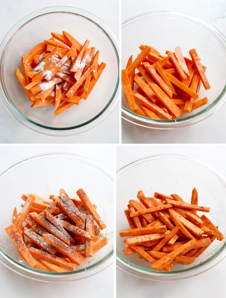 how to coat sweet potato fries with seasoning