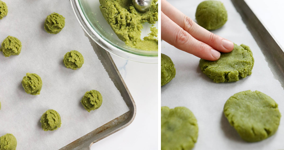 pressing down matcha cookies on the pan
