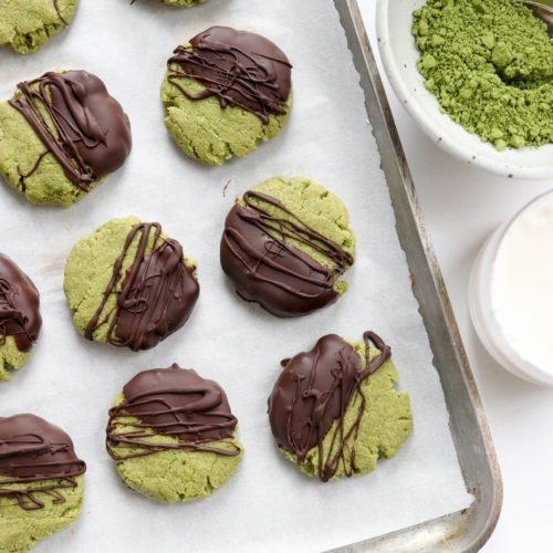 matcha cookies dipped in chocolate