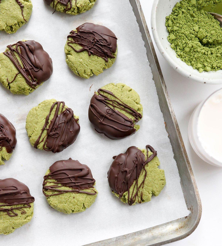 matcha cookies on baking sheet