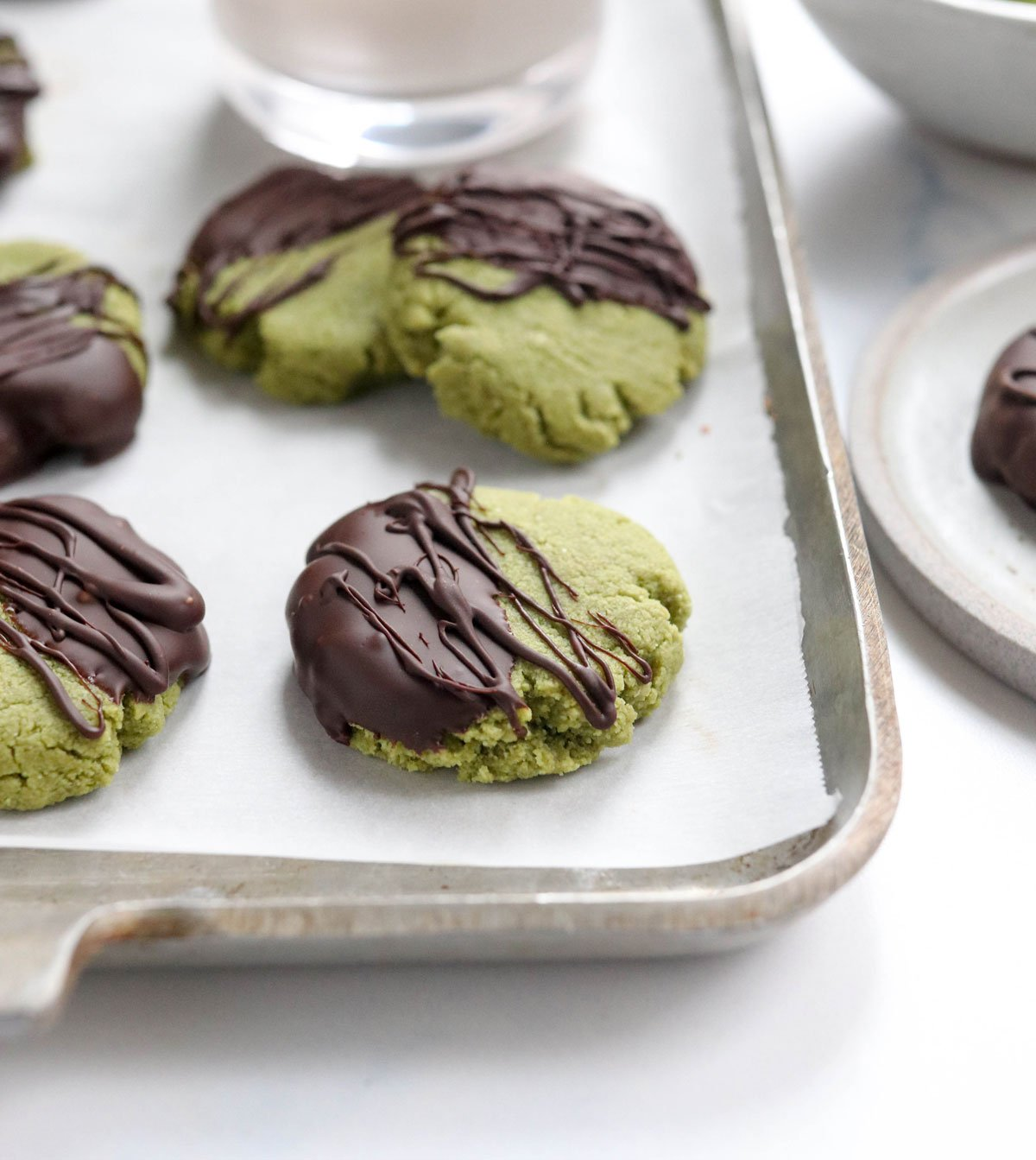 matcha cookies with chocolate on top