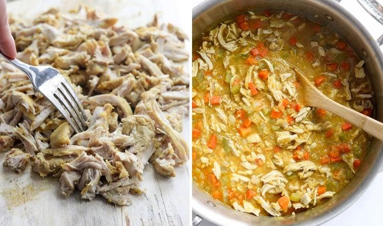 shredded chicken in soup