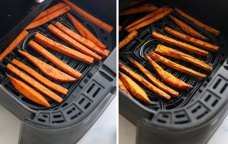 sweet potato fries before and after in air fryer