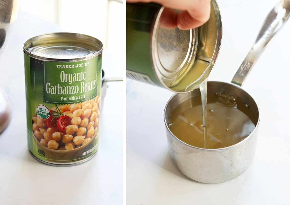aquafaba being poured from can of chickpeas