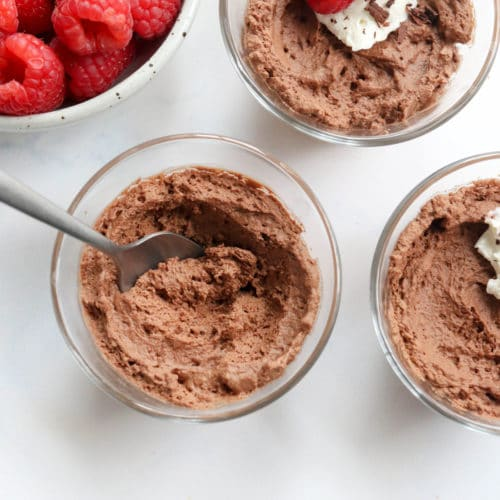 aqufaba chocolate mousse with a spoon