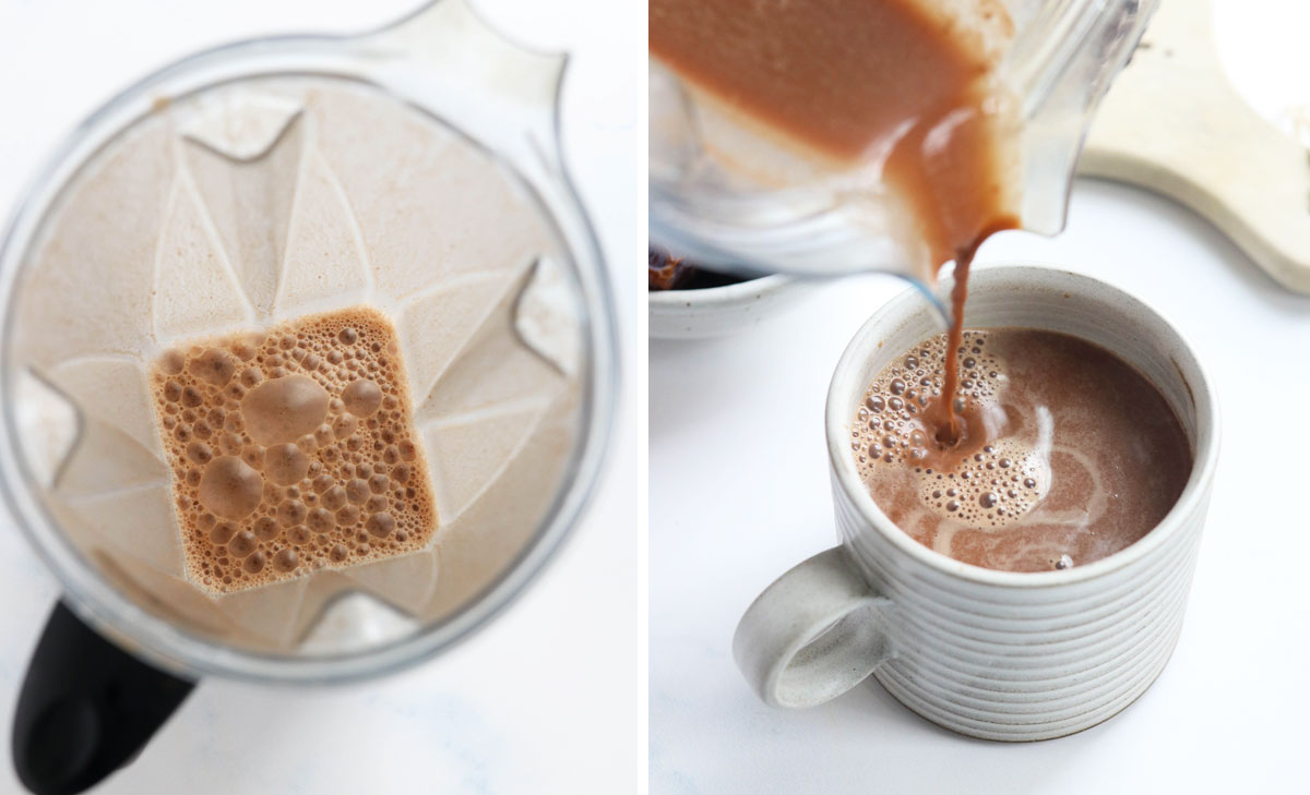 hot chocolate in blender being poured into mug