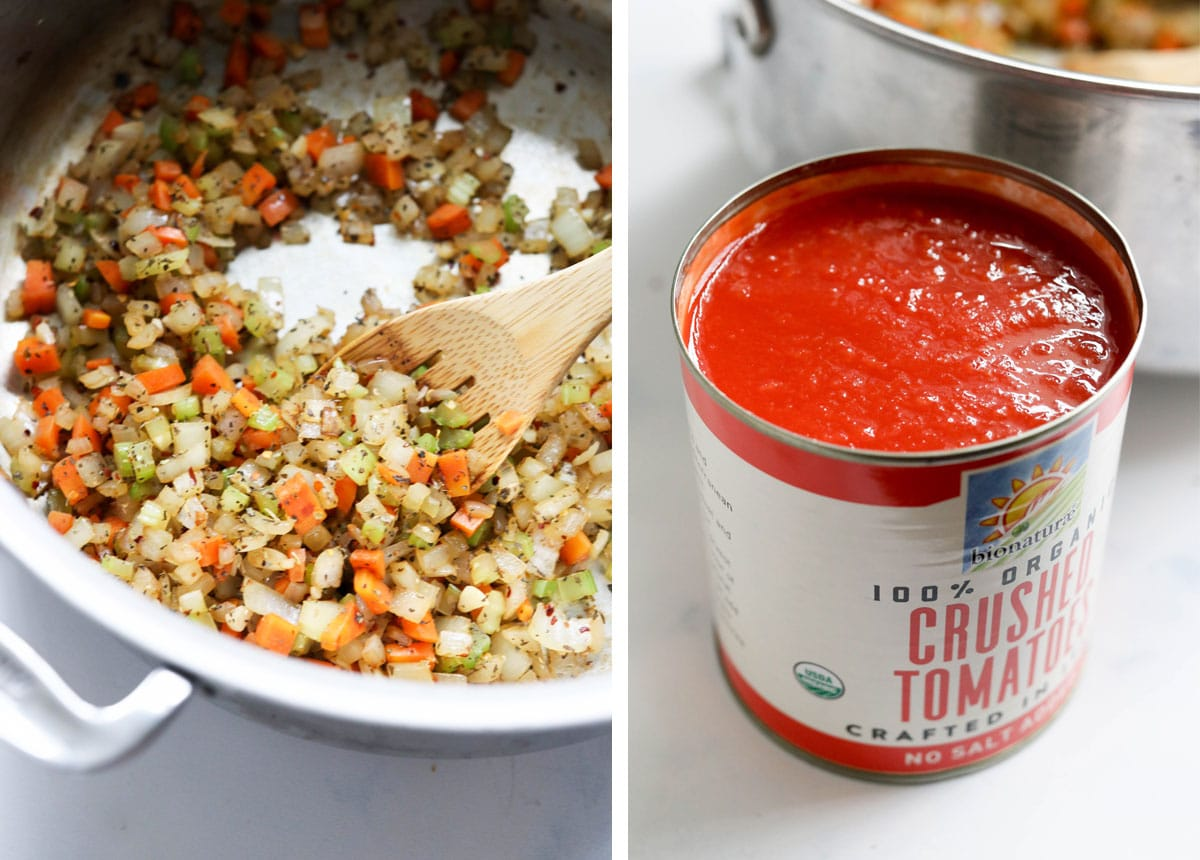 sauteed vegetable in pan and a can of crushed tomatoes