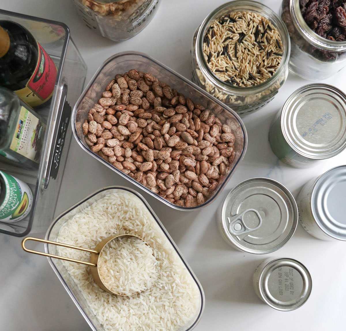 dry ingredients and canned goods