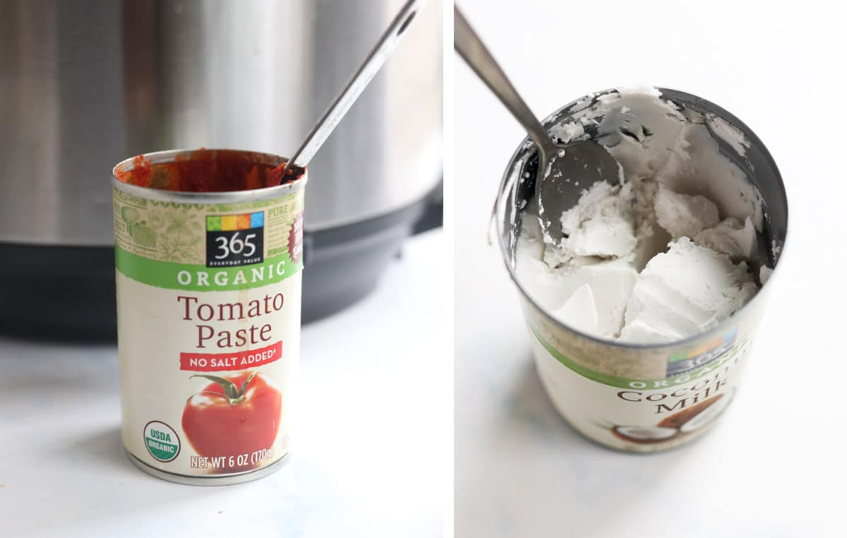 can of tomato paste and coconut milk open