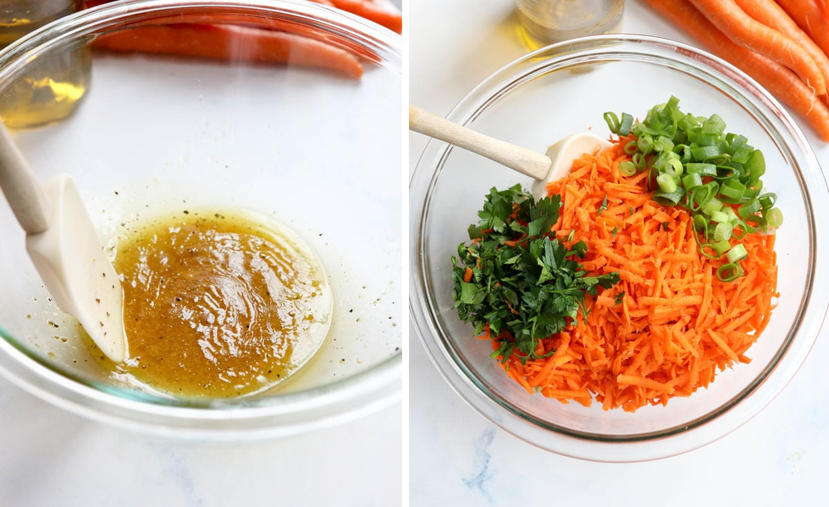 carrot salad dressing and veggies in bowl
