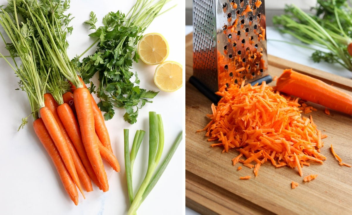 carrot salad ingredients and box grater with shredded carrots