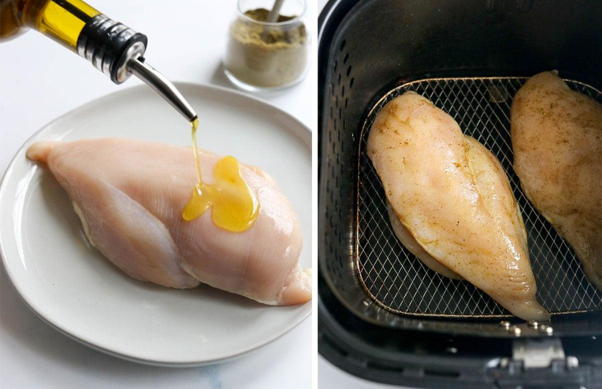 طريقة تحضير الدجاج بزيت الزيتون والملح