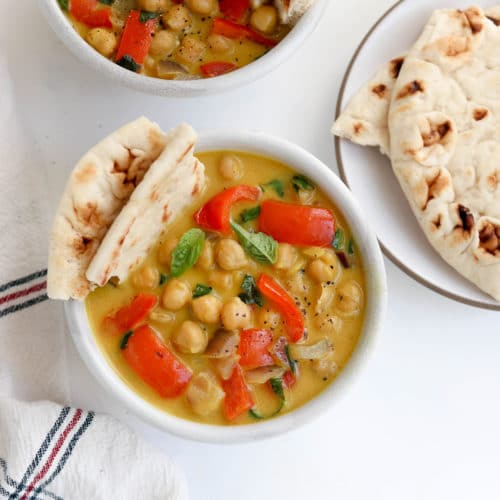 chickpea curry with naan bread