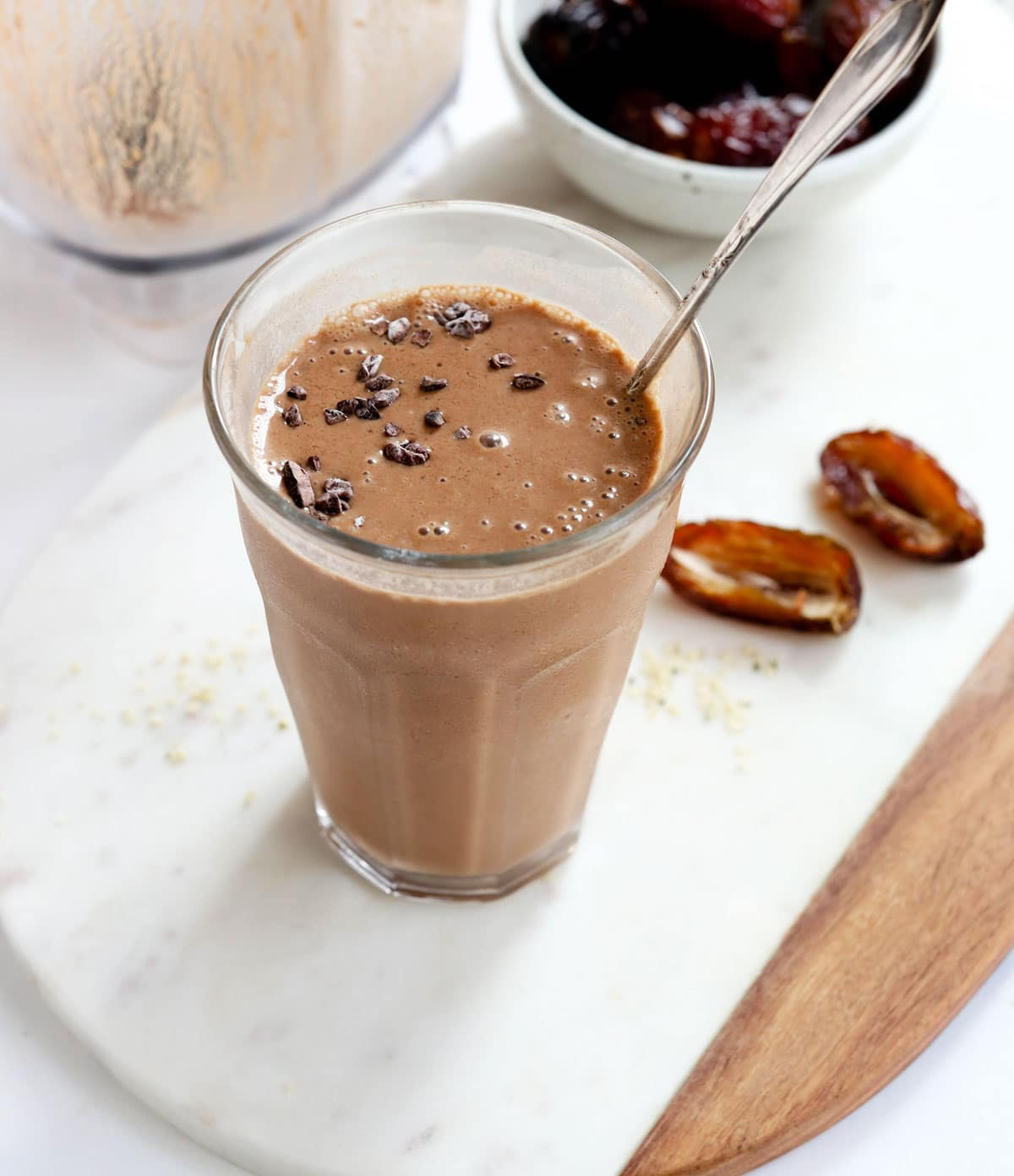 chocolate smoothie with cacao nibs