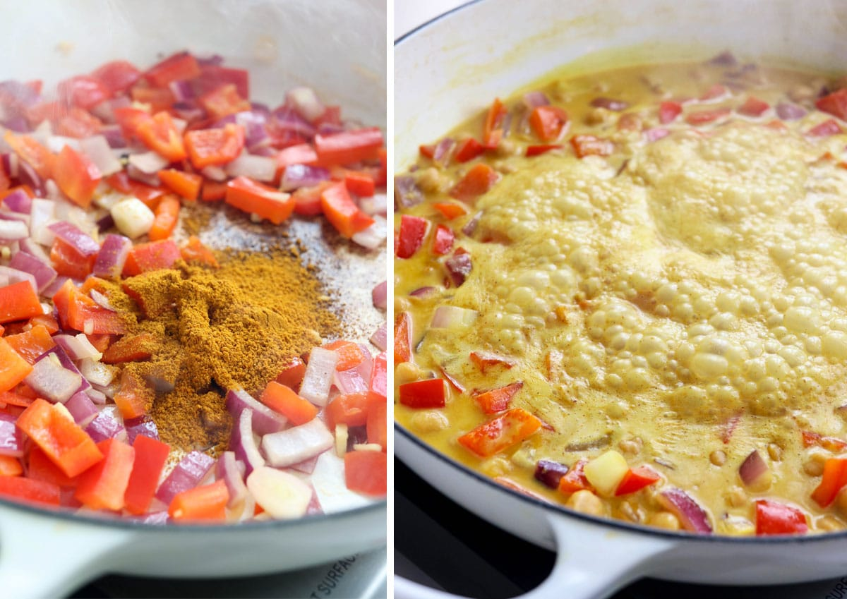 curry powder with vegetables in pan