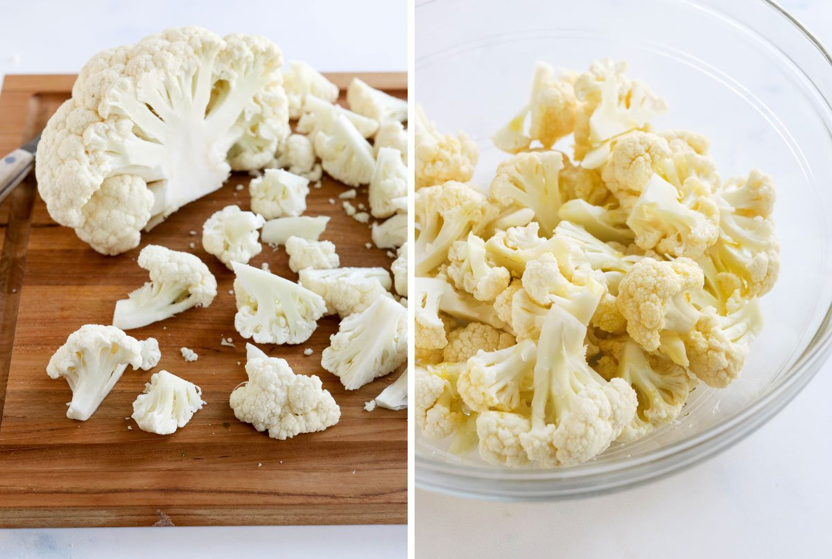 cauliflower on cutting board and in bowl