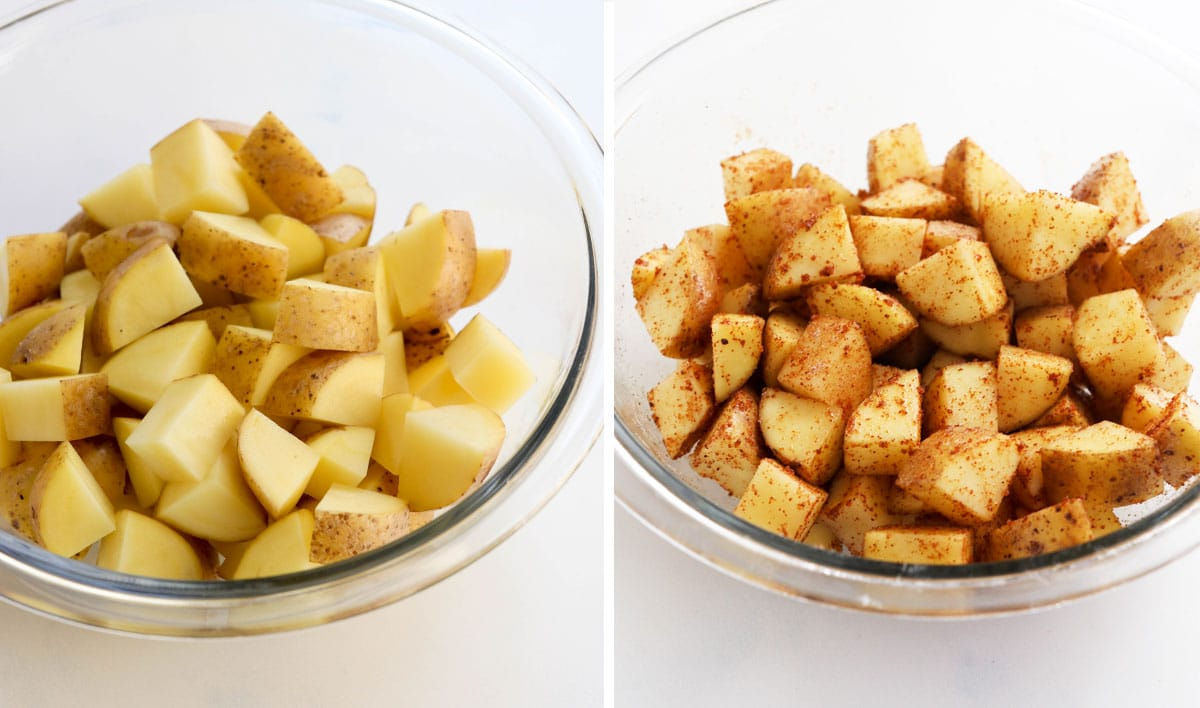 cut potatoes in a bowl with seasonings
