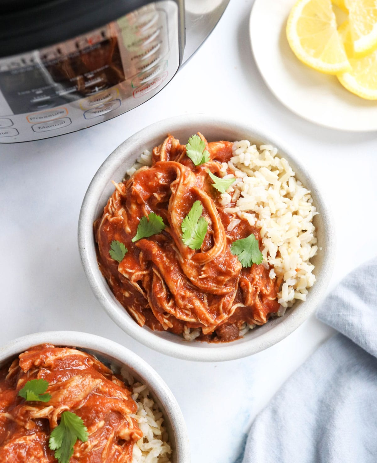 butter chicken overhead in bowls with rice