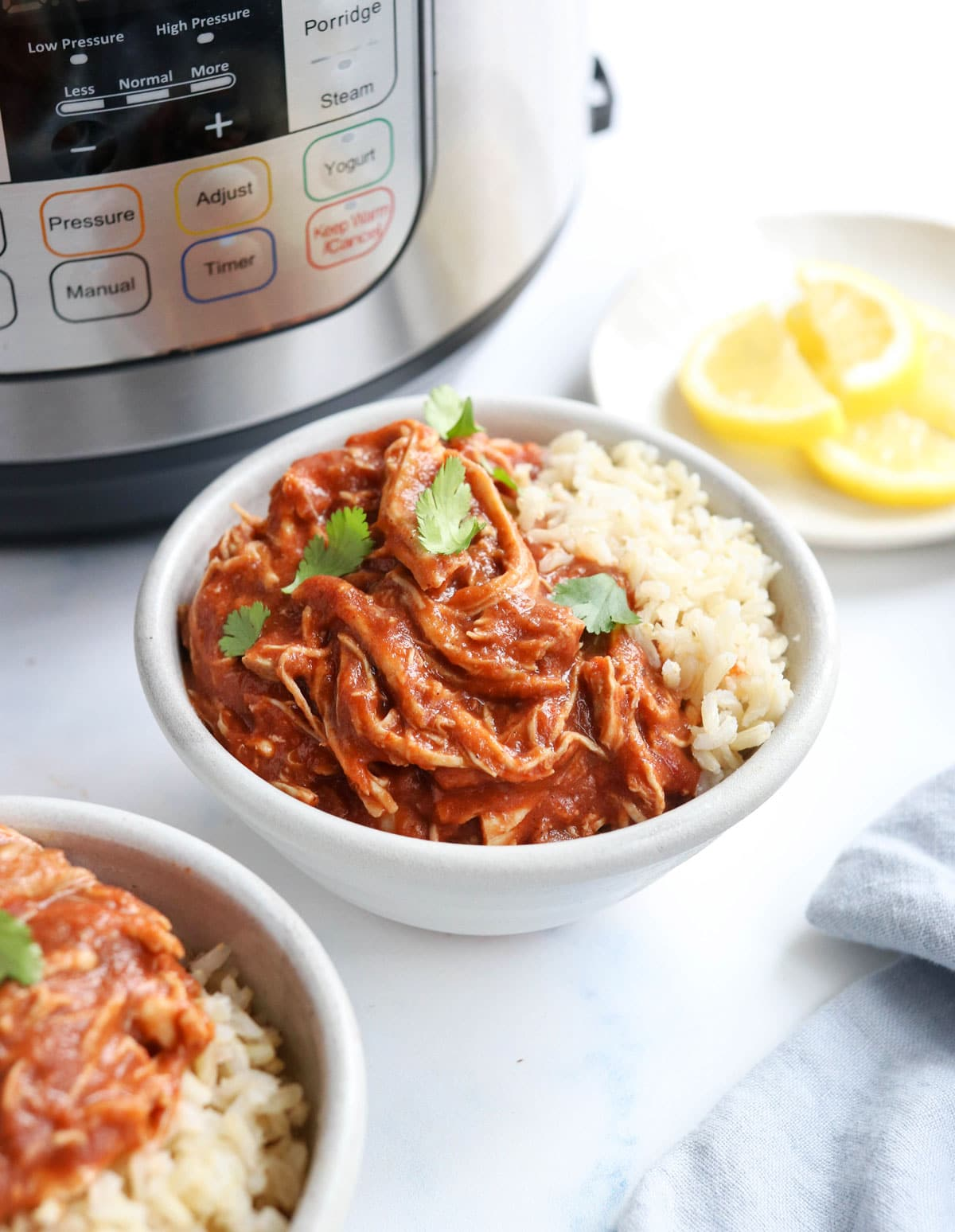 instant pot butter chicken in bowl with rice