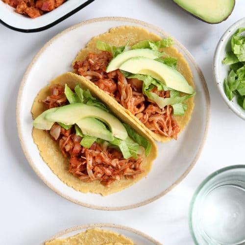 jackfruit tacos with avocado
