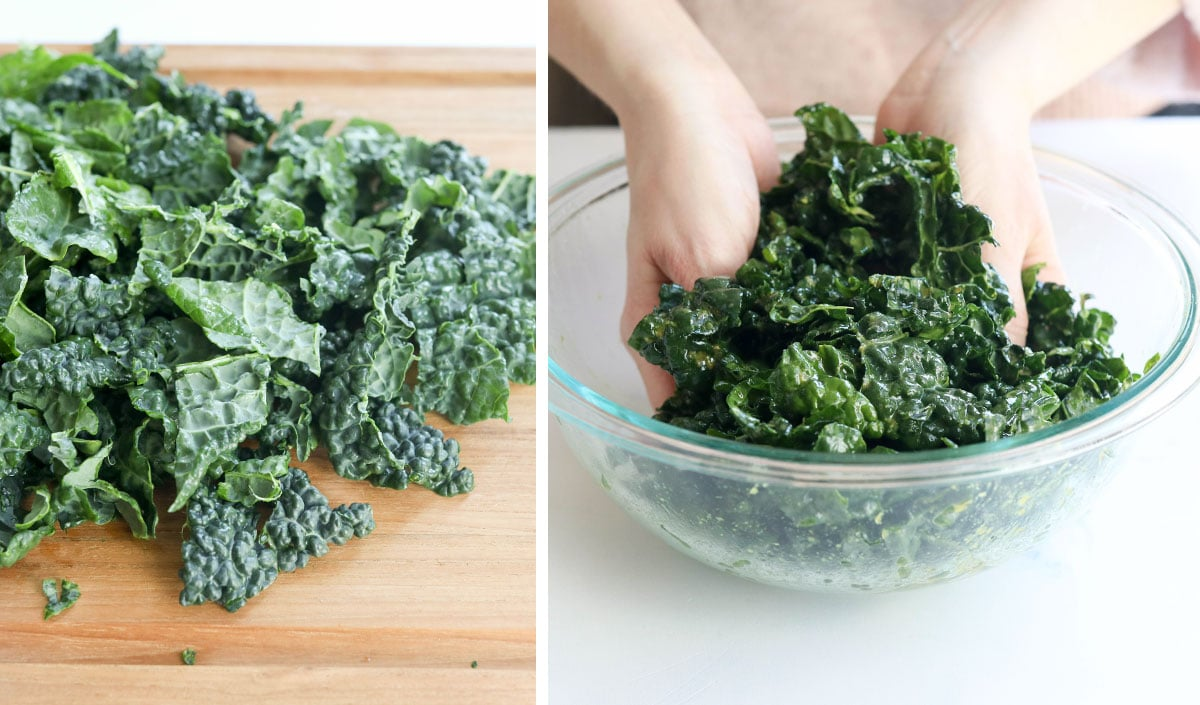 hands massaging kale in bowl