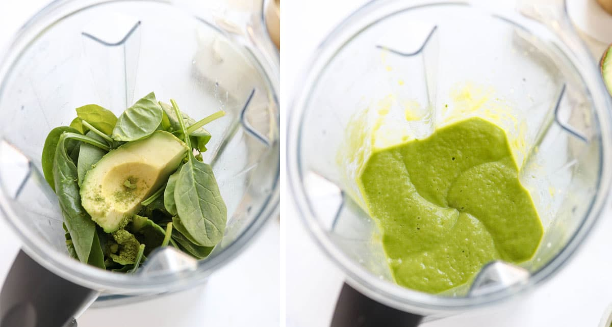 matcha smoothie in a blender