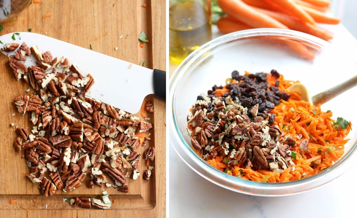 crushed pecans and raisins added to the carrot salad