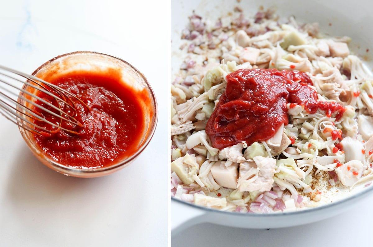 tomato sauce and jackfruit