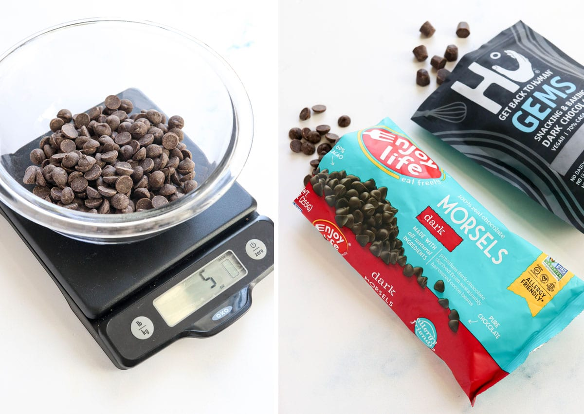 food scale and chocolate chips