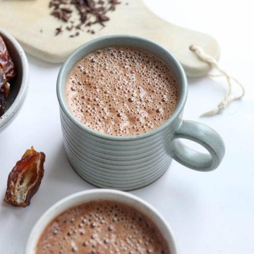 vegan hot chocolate in blue mug