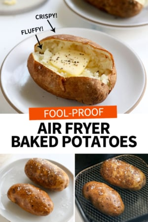 air fryer baked potato with butter on it