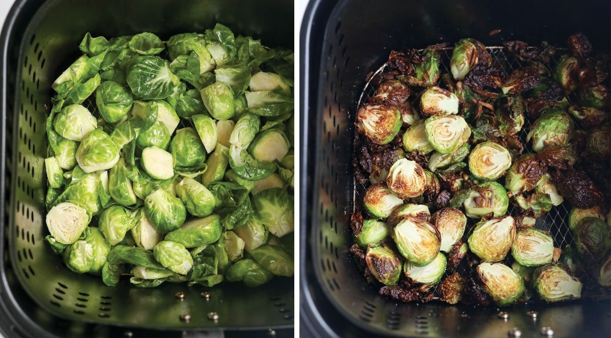 brussels cut in half in air fryer