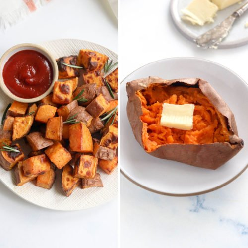 air fryer sweet potatoes 2 ways