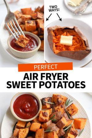 air fryer sweet potatoes pin
