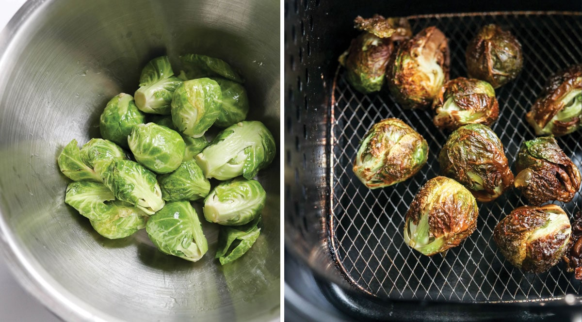whole brussels sprouts in the air fryer