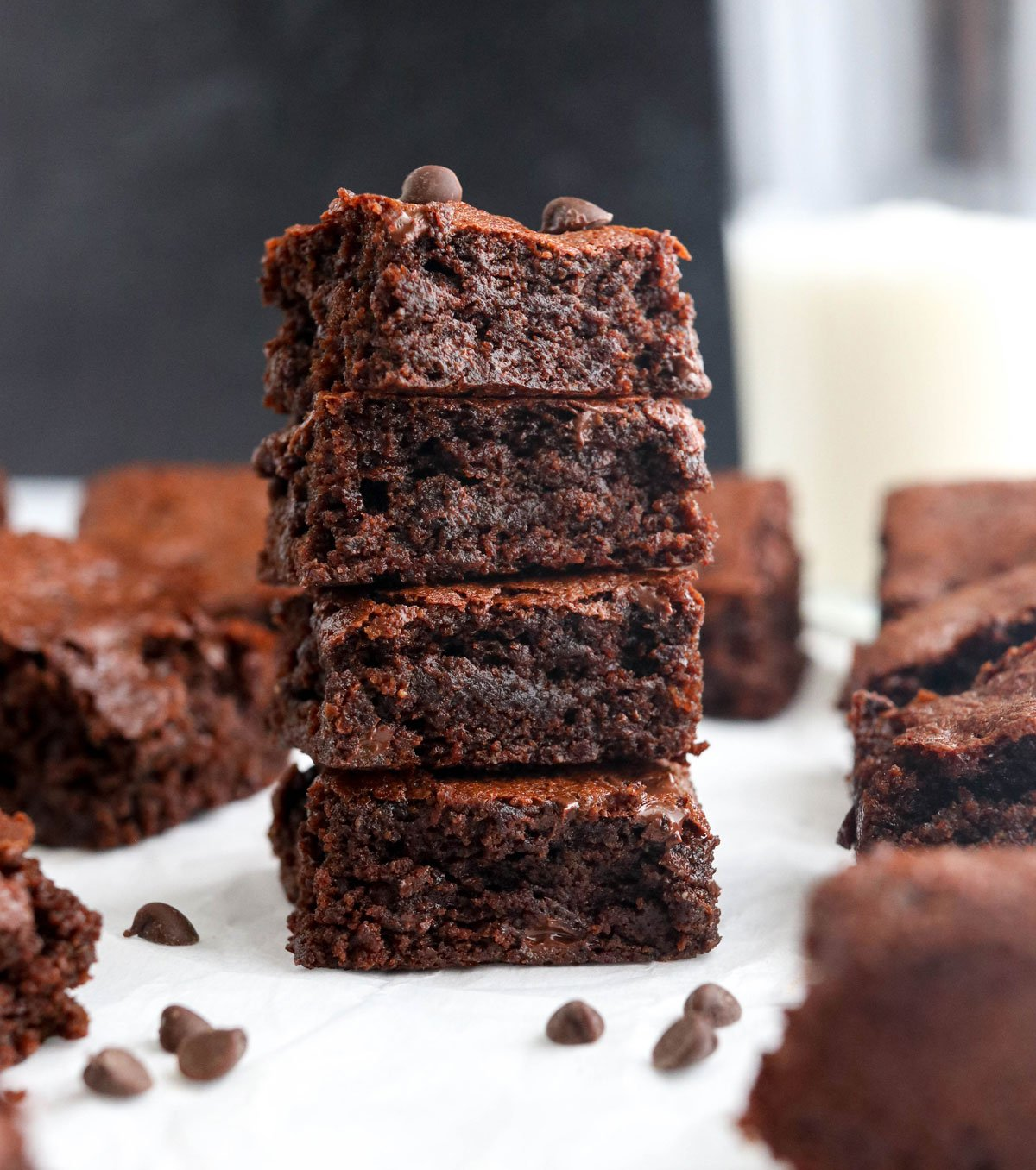 best almond flour brownies stacked on each other