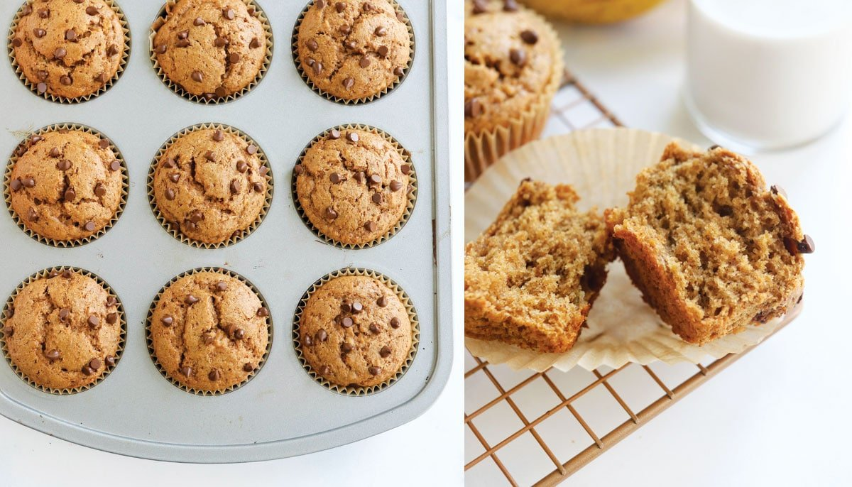 baked gluten-free banana muffins texture shot