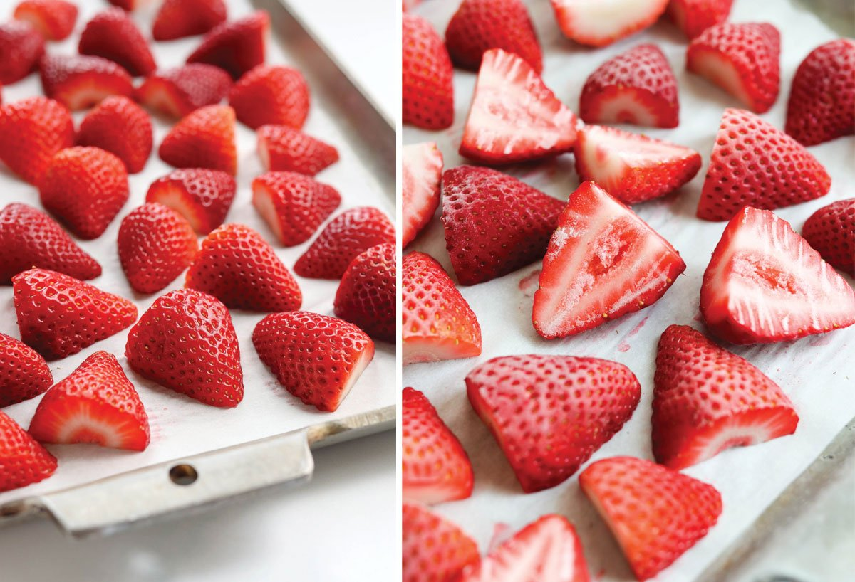 before and after frozen strawberries on a pan