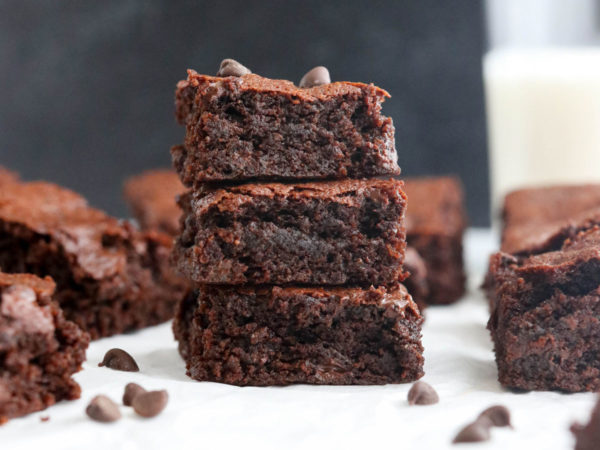 almond flour brownies on a marble board