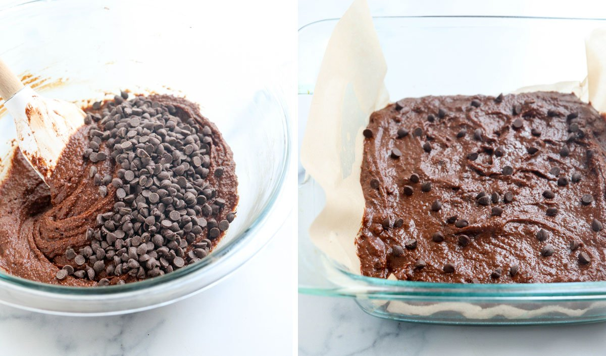 chocolate chips added to almond flour brownie batter
