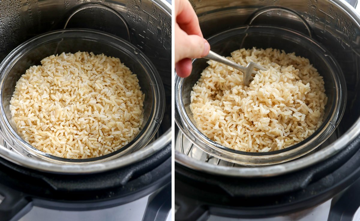 brown rice cooked pot in pot in the Instant Pot