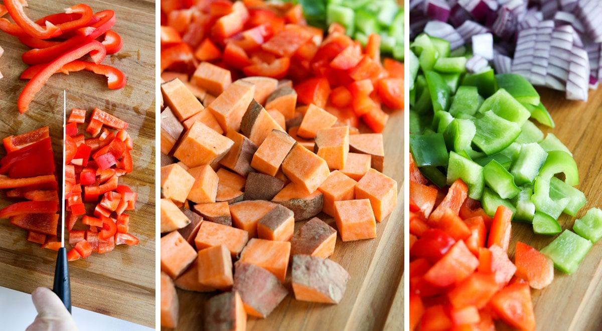 sweet potatoes and veggies on cutting board