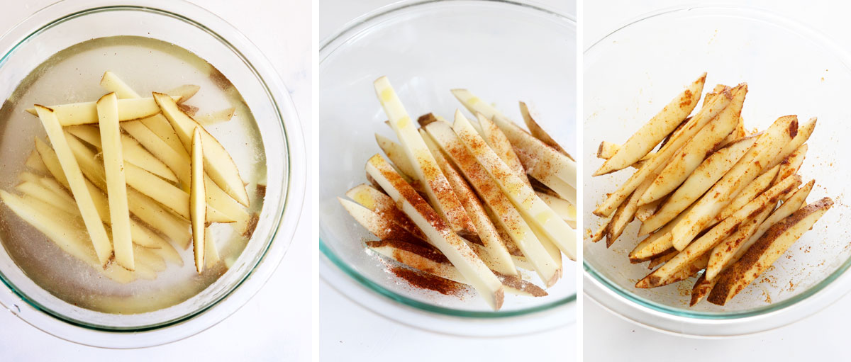 fries soaked in water and then seasoned in bowl