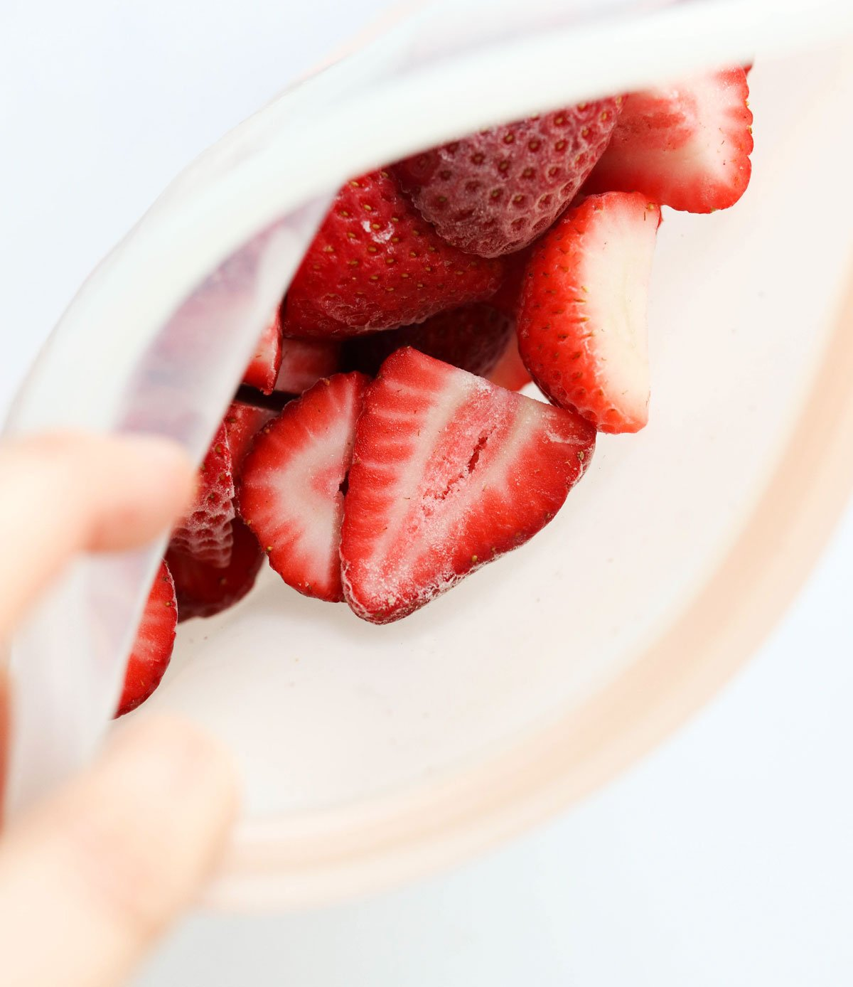 frozen strawberries in silicone bag