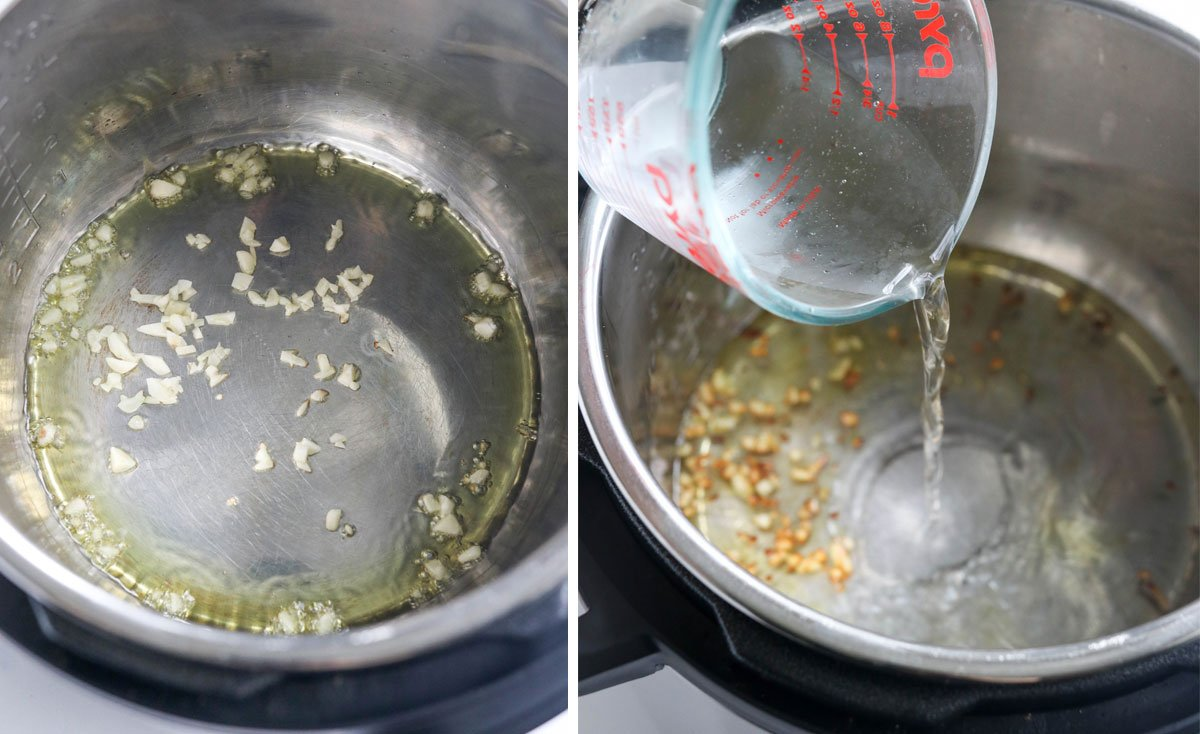 garlic and water in the Instant Pot