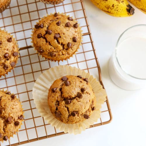 gluten free banana muffins on cooling rack