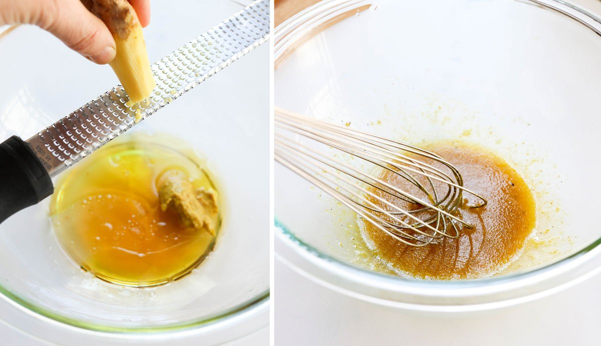 apple cider dressing in glass bowl