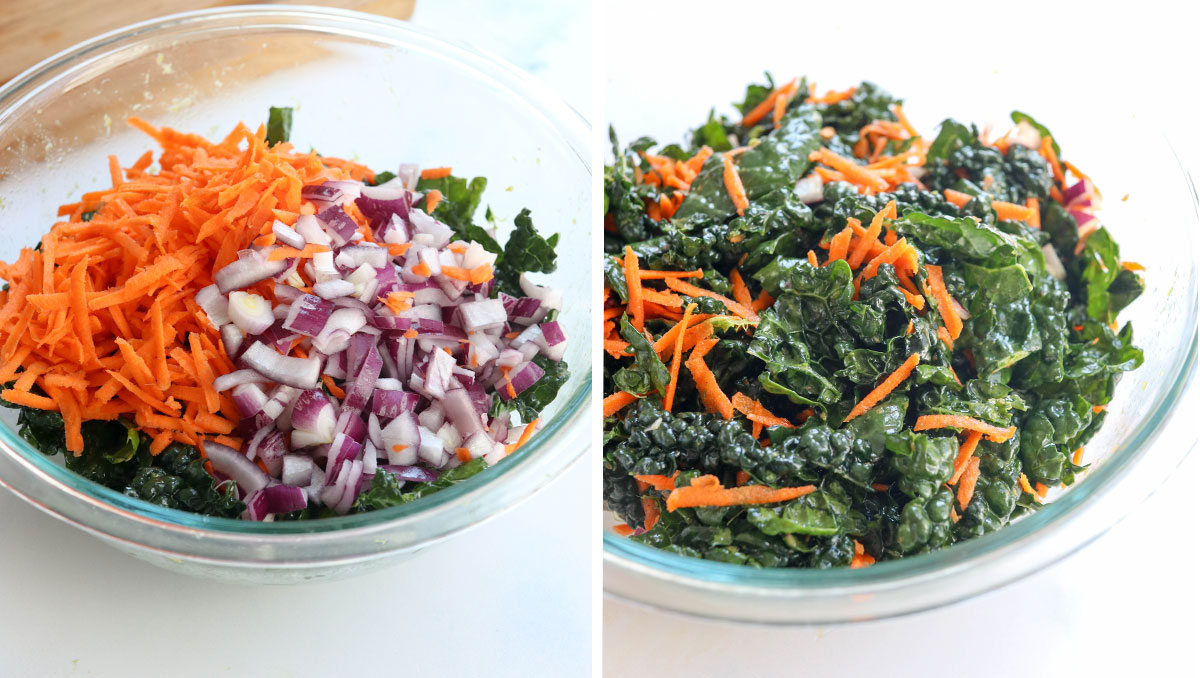 shredded carrots and onions in kale salad
